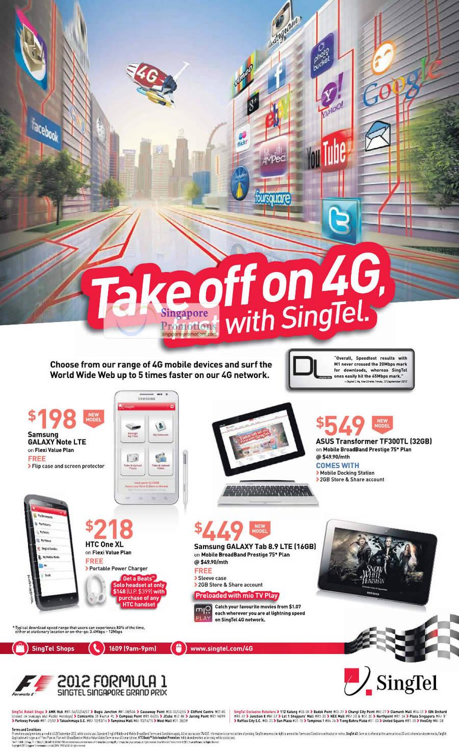 Samsung Galaxy Note LTE, ASUS Transformer TF300LT, HTC One XL, Samsung Galaxy Tab 8.9 LTE