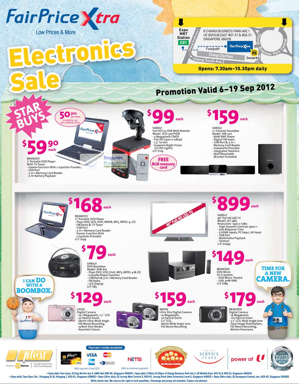 Sansui DVD Boombox, LED TV, Car DVR, Soundbar