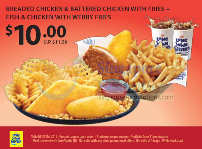 10.00 Breaded Chicken n Battered Chicken with Fries, Fish n Chicken with Webby Fries