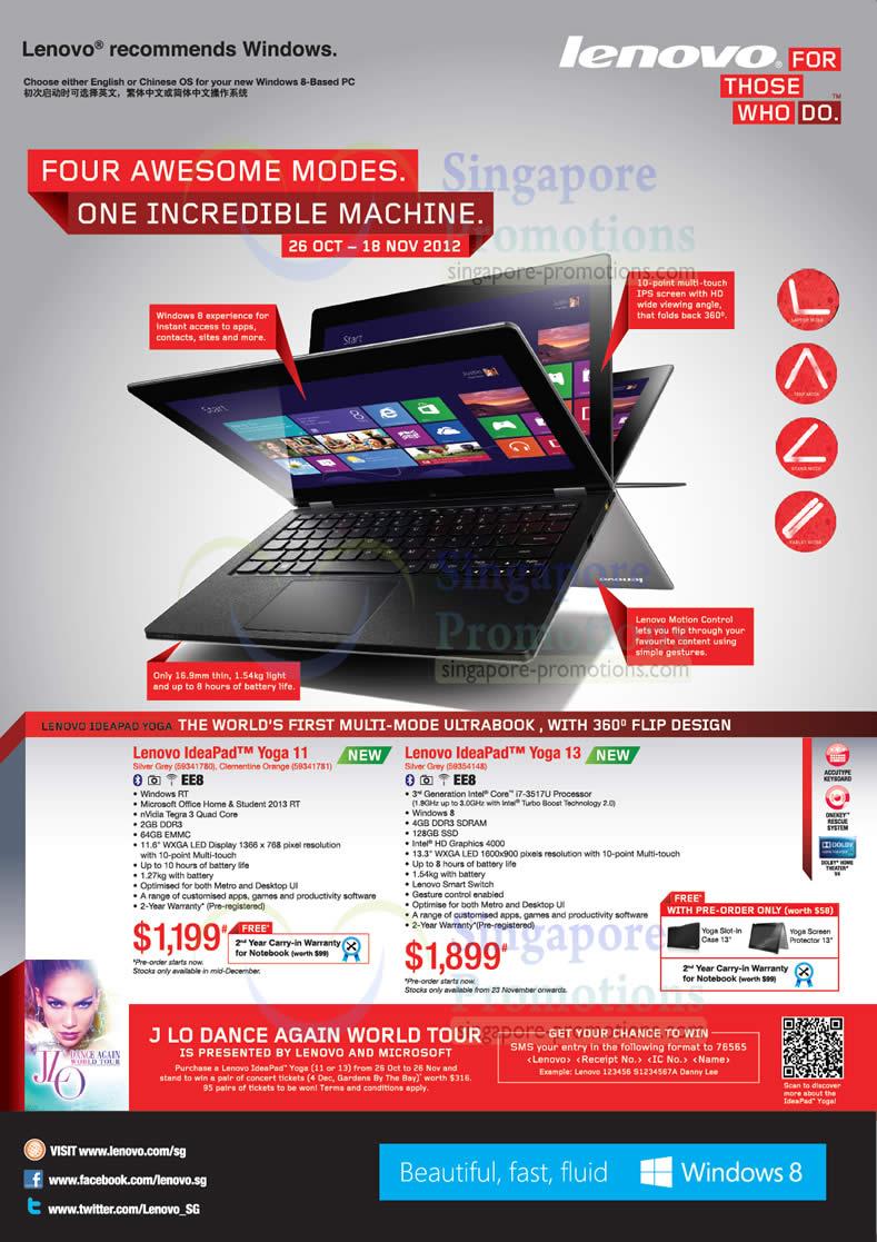 Lenovo Ideapad Yoga 11 Notebook 58341780 , Lenovo Ideapad Yoga 11 Notebook 58341781, Lenovo Ideapad Yoga 13 Notebook 59353138