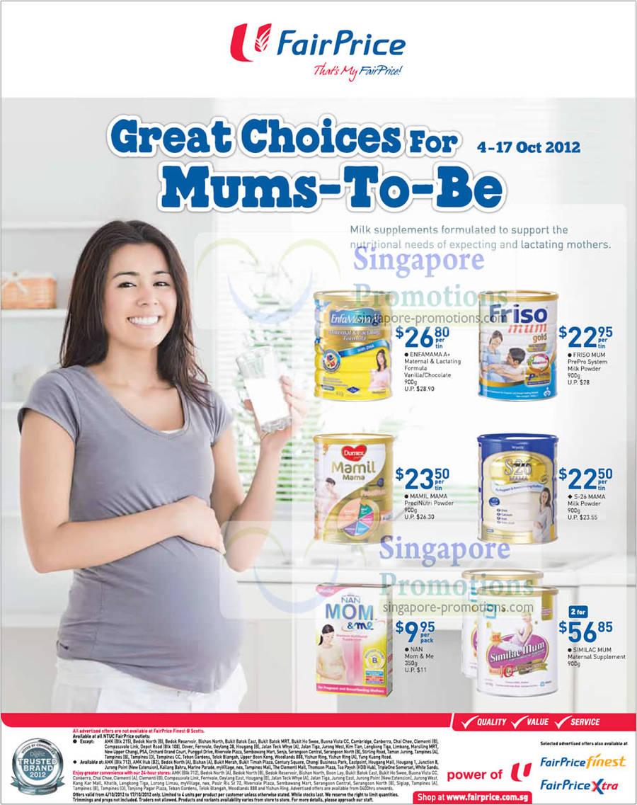 Enfamama A+ Maternal & Lactating Formula Milk Powder, Friso Mum Prepro System Milk Powder, Mamil Mama PreciNutri Milk Powder, S-26 Mama Milk Powder, Similac Mum Maternal Supplement Milk Powder