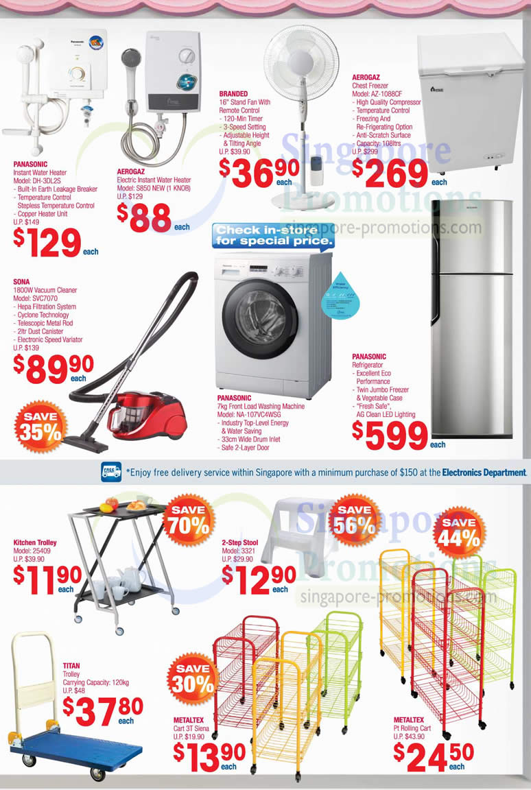 Panasonic Water Heater, Washer, Aerogaz, Sona Vacuum Cleaner