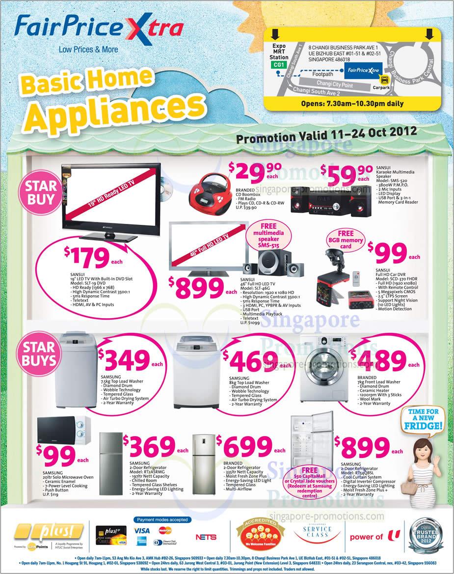 Sansui Appliances LED TV, Car DVR, Speaker, Samsung Washer, Microwave Oven, Fridge