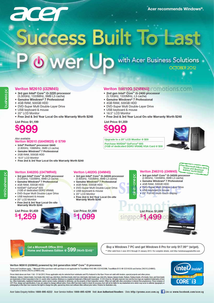 Acer Veriton M2610 i32M45 Desktop PC, Acer Veriton S4610G i24M45 Desktop PC, Acer Veriton X4620G i347MR45 Desktop PC, Acer Veriton M2610 G645M25 Desktop PC, Acer Veriton L4620G i34M45 Desktop PC, Acer Veriton Z4631G i34M45 AIO Desktop PC