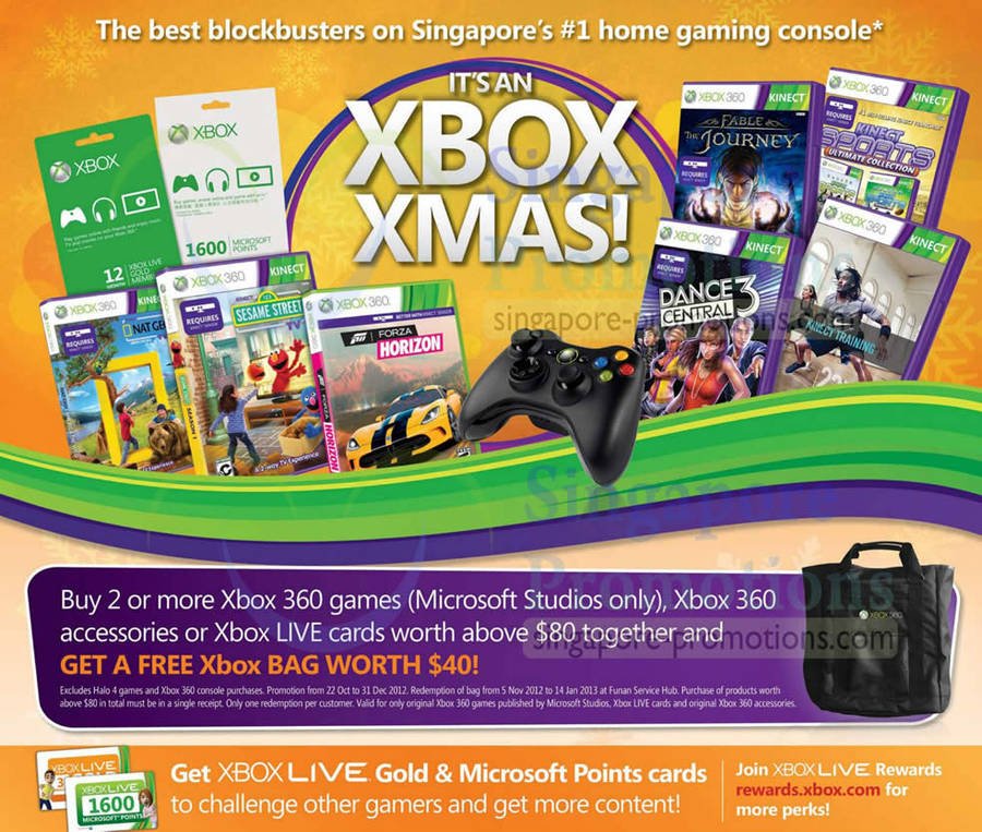 Xbox 360 Games, Accessories, Live Cards Free Bag
