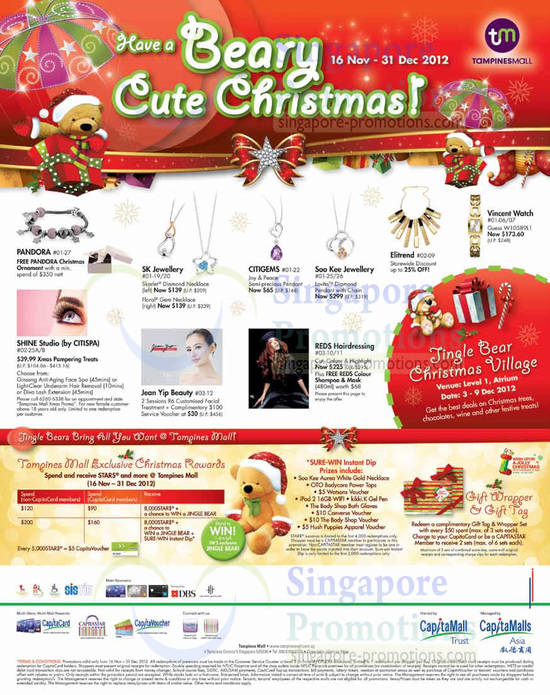 23 Nov Pandora, SK Jewellery, Citigems, Elitrend, Jean Yip Beauty
