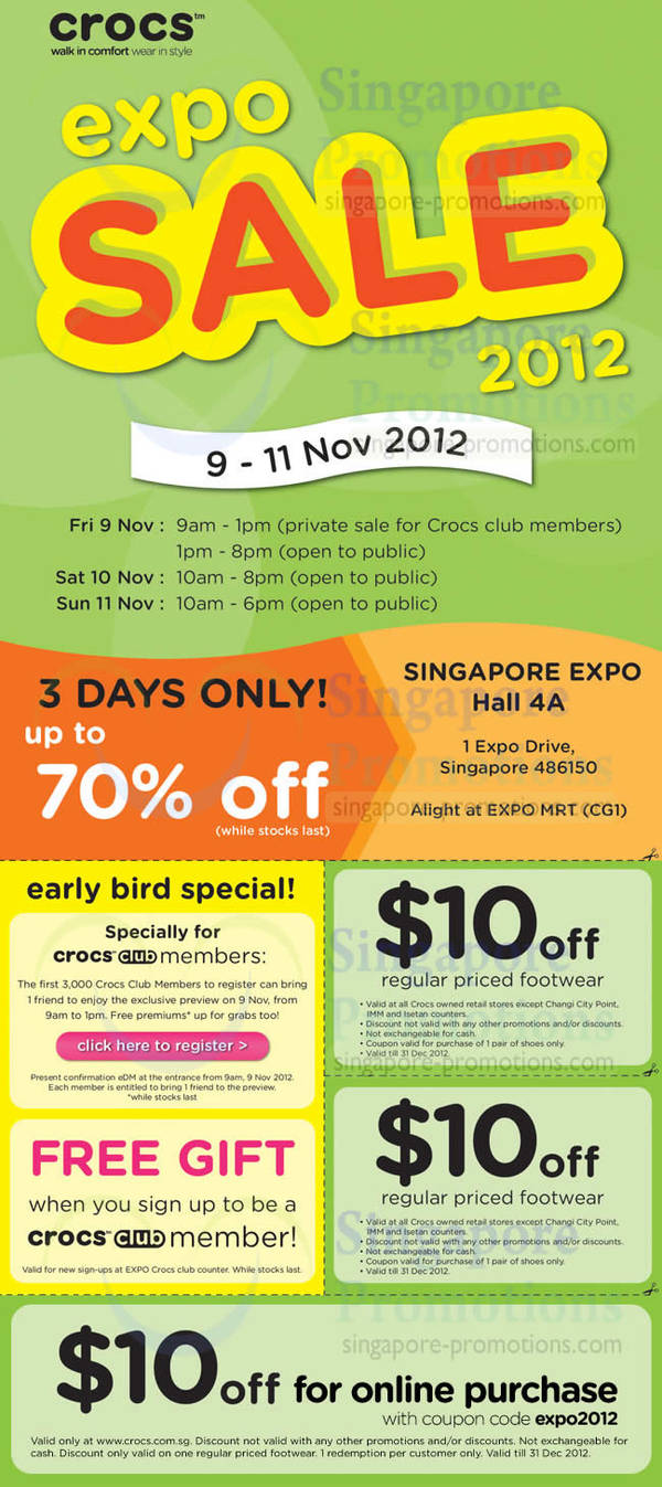 40bbfeeb120069 Crocs Expo Sale Up To 70% Off   Singapore Expo 9 – 11 Nov 2012