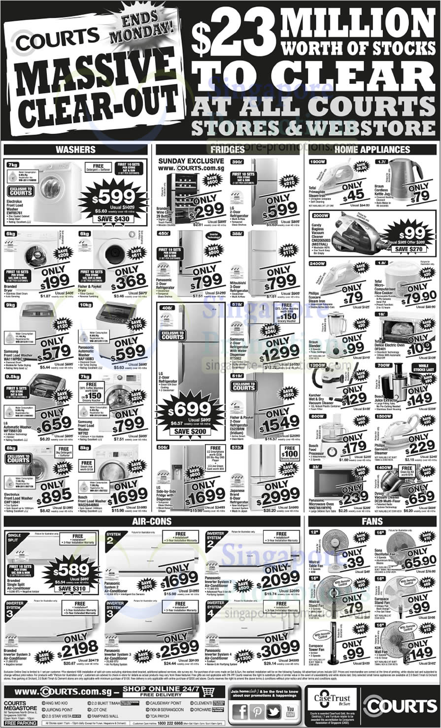 Electrolux, Samsung, Panasonic, LG, Bosch Washers, Fisher n Paykel Fridges, Candy, Dyson Vacuum Cleaners, Tefal Electric Oven