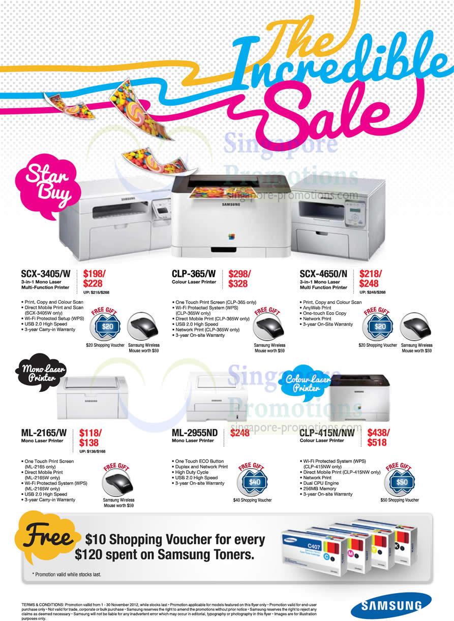 Samsung SCX-3405 Laser Printer, Samsung SCX-3405W Laser Printer, Samsung CLP-365 Laser Printer, Samsung CLP-365W Laser Printer, Samsung SCX-4650 Laser Printer, Samsung SCX-4650N Laser Printer, Samsung ML-2165 Laser Printer, Samsung ML-2165W Laser Printer, Samsung ML-2955ND Laser Printer, Samsung CLP-415N Laser Printer, Samsung CLP-415NW Laser Printer