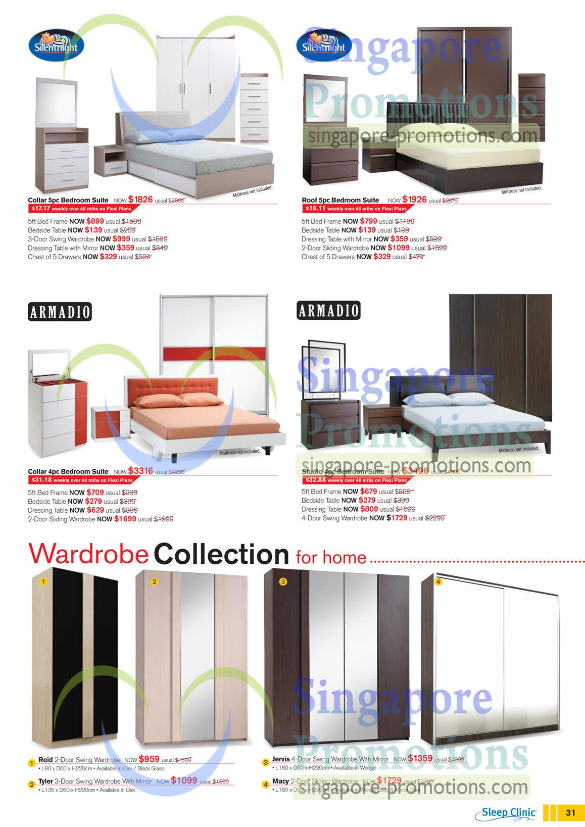 Bedroom suite silentnight collar silentnight roof for Armadio studio