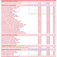 Price List Bath N Body Skincare Face Masks Body Mist