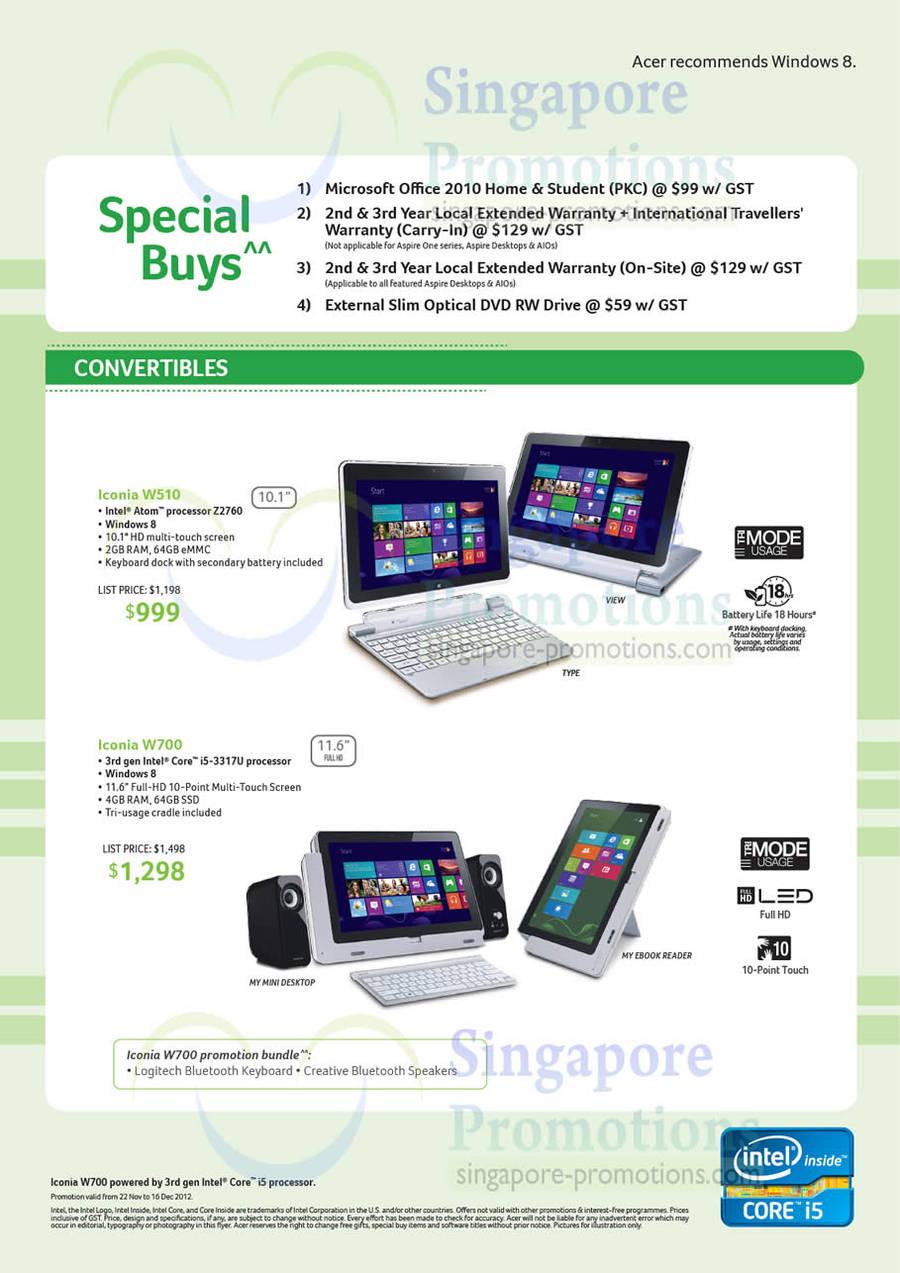 Acer Iconia W510 Notebook, Acer Iconia W700 Notebook