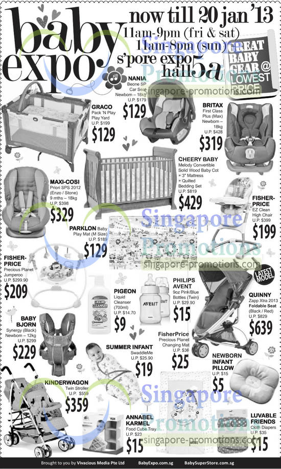 Nania Beone SP Car Seat Newborn, Graco Pack N Play Play Yard, Britax First Class Plus (Max) Newborn Car Seat, Maxi-Cosi Priori SPS 2012 Car Seat, Cheery Baby Melody Convertible Solid Wood Baby Cot, Fisher-Price EZ Clean High Chair, Parklon Baby Play Mat, Fisher-Price Precious Planet Jumperoo, Baby Bjorn Synergy Newborn, Quinny Zapp Xtra 2013 Foldable Seat
