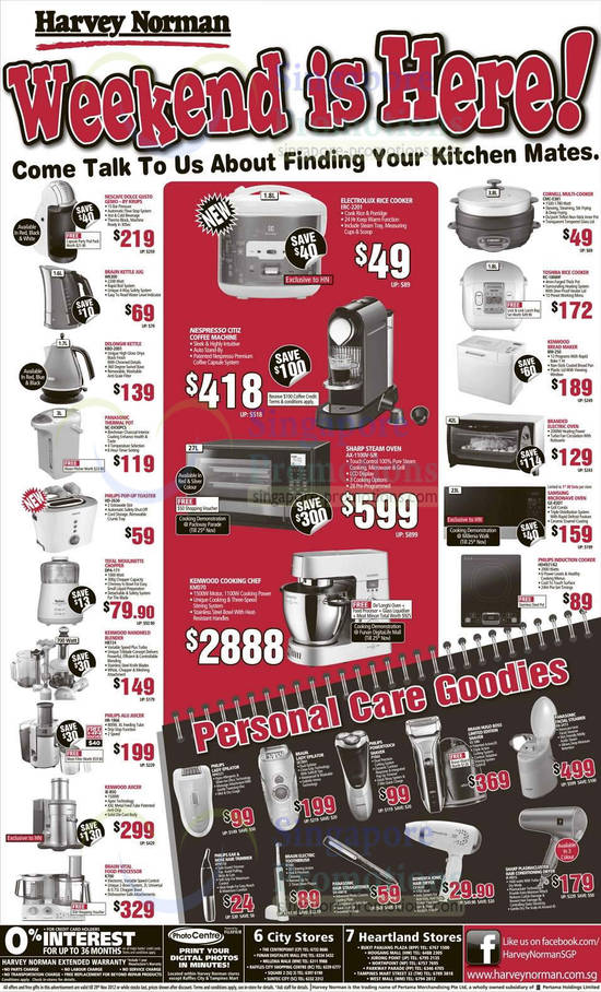 Braun WK300 Kettle Jug, Delonghi KBO2001 Kettle, Panasonic NC-EH30PC Thermal Pot, Philips HD-2630 Toaster, Tefal DPA171 Moulinette Chopper, Kenwood HB724 Blender, Philips HR1866 Alu Juicer, Kenwood JE850 Juicer, Braun K700 Food Processor, Electrolux ERC-2201 Rice Cooker, Sharp AX-1100V Steam Oven, Kenwood KM070 Cooking Chef, Cornell CMC-E381 Multi-Cooker, Toshiba RC-18NMF Rice Cooker, Kenwood BM250 Bread Maker, Samsung GE-83DT Microwave Oven, Philips HD4921/62 Induction Cooker, Philips PT840 PowerTouch Shaver, Braun S5 590 Hugo Boss Shaver, Panasonic EH-2473 Facial Steamer, Philips NT9110 Ear & Nose Hair Trimmer, Braun D950 Electric Toothbrush, Rowenta CV3620 Ionic Hair Dryer