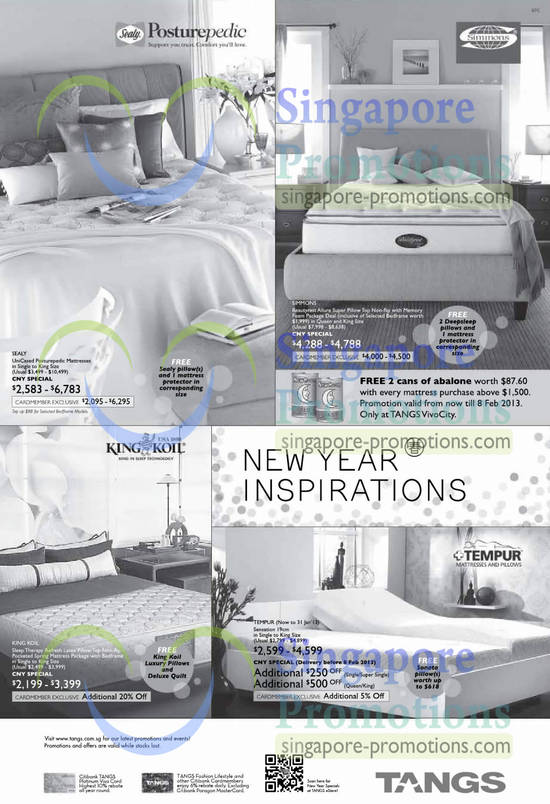 Simmons Beautyrest Allure Mattress, King Koil Sleep Therapy Mattress, Tempur Sensation Mattress