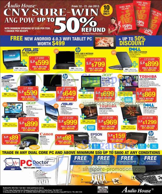 Samsung RV415 Notebook, Acer E1 Notebook, Toshiba L840-1027X Notebook, Acer V3-471G Notebook, Asus S46CM Notebook, Toshiba U840 Ultrabook Notebook, Dell XPS 13 Ultrabook Notebook, Canon MG2270 Printer, Epson XP-102 Printer