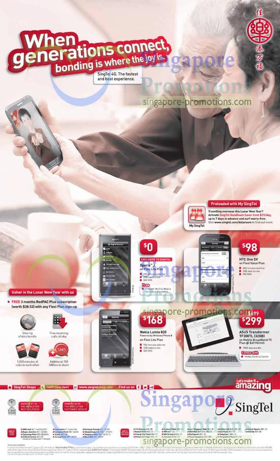 Sony Xperia J, HTC One SV, Asus Transformer TF300TL, Nokia Lumia 820