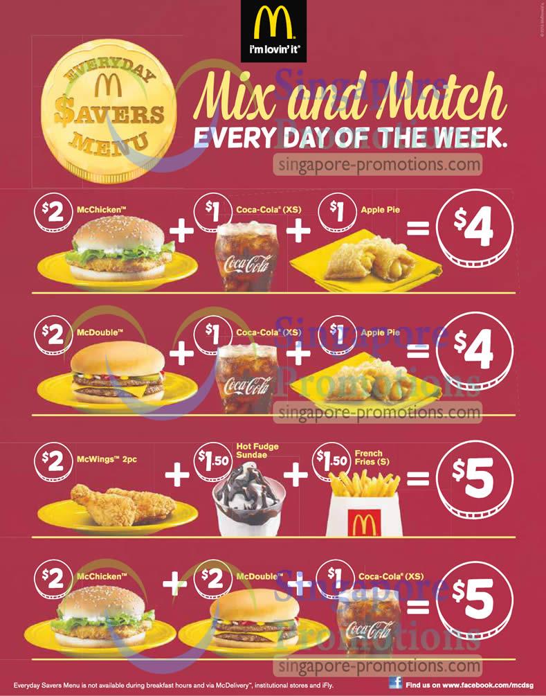 Everyday Savers Menu Mix And Match Deals 187 Mcdonald S New
