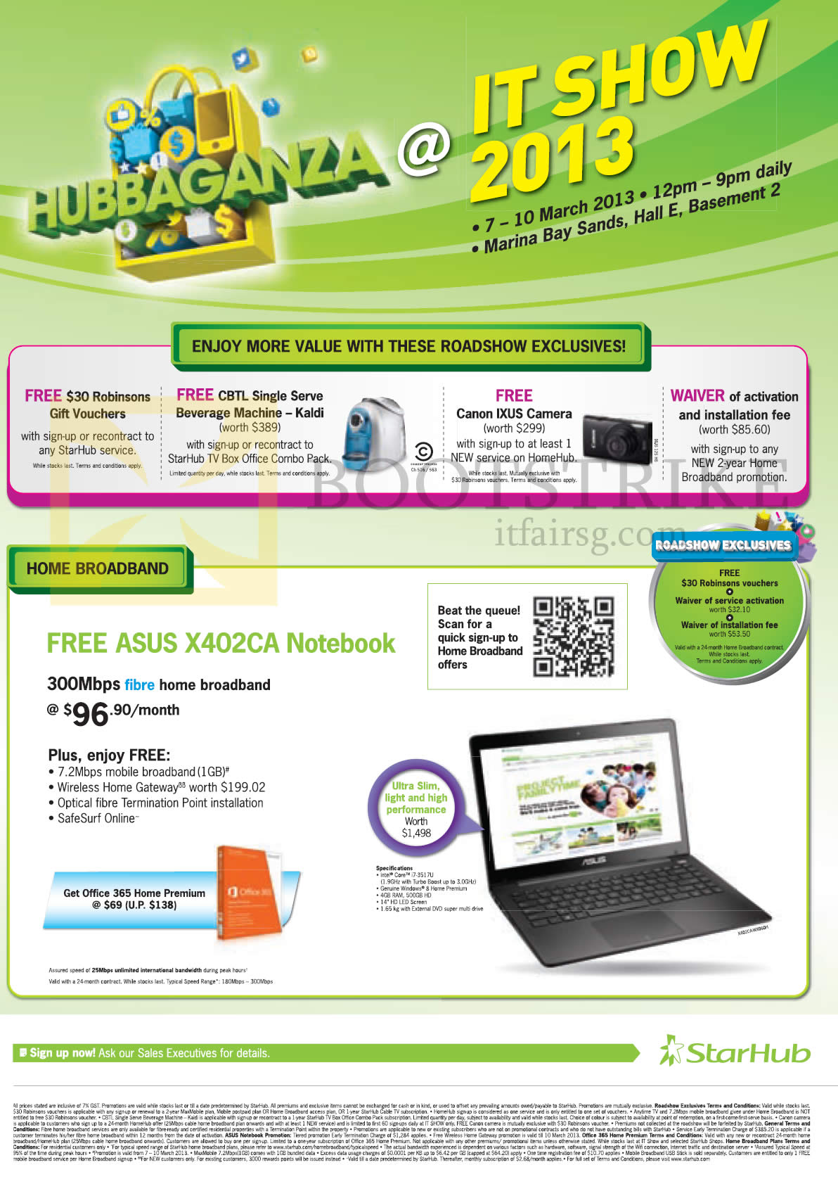 Broadband Fibre 300Mbps Free ASUS X402CA Notebook, Free