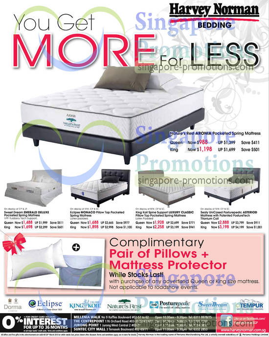 Nature's Rest Aronia Mattress, Sweet Dream Emerald Deluxe Mattress, Eclipse Monaco Mattress, King Koil Spine Support Luxury Classic Mattress, Sealy UniCased Posturepedic Asteriod Mattress, PostureTech Titanium Coil