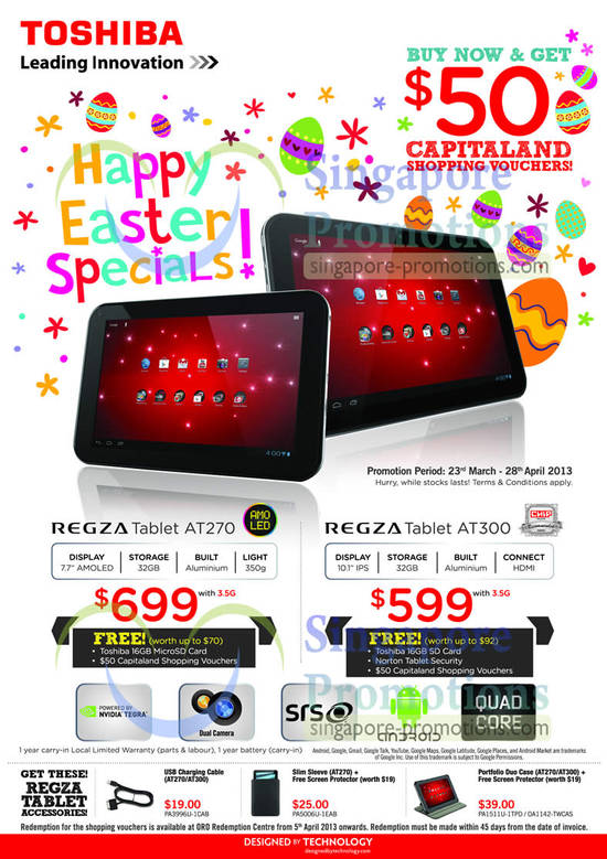 Regza Tablets Free Capitaland Vouchers, Free Gifts