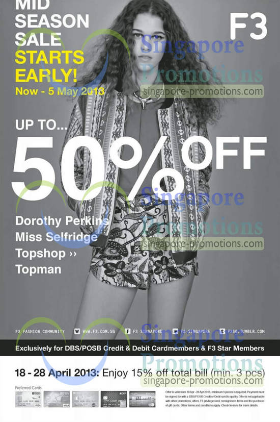 18 Apr Mid Season Sale Dorothy Perkins, Miss Selfridge, Topshop, Topman