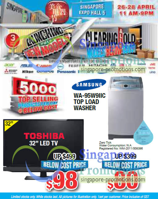 22 Apr Samsung WA-95W9IIC Washer, Toshiba 32 LED TV