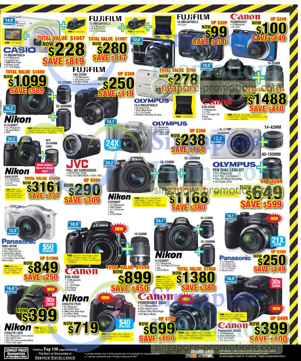 Digital Cameras Casio Fujifilm Canon Olympus Nikon