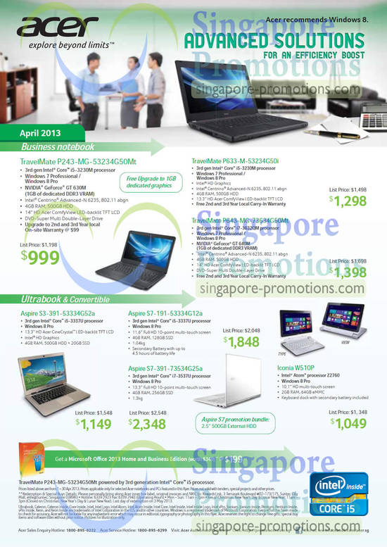 Acer TravelMate P243-MG-53234G50Mt Notebook, Acer TravelMate P633-M-53234G50i Notebook, Acer TravelMate P643-MG-73634G50Mt Notebook, Acer Aspire S3-391-53334G52a Notebook, Acer Aspire S7-191-53334G12a Notebook, Acer Aspire S7-391-73534G25a Notebook, Acer Iconia W510P