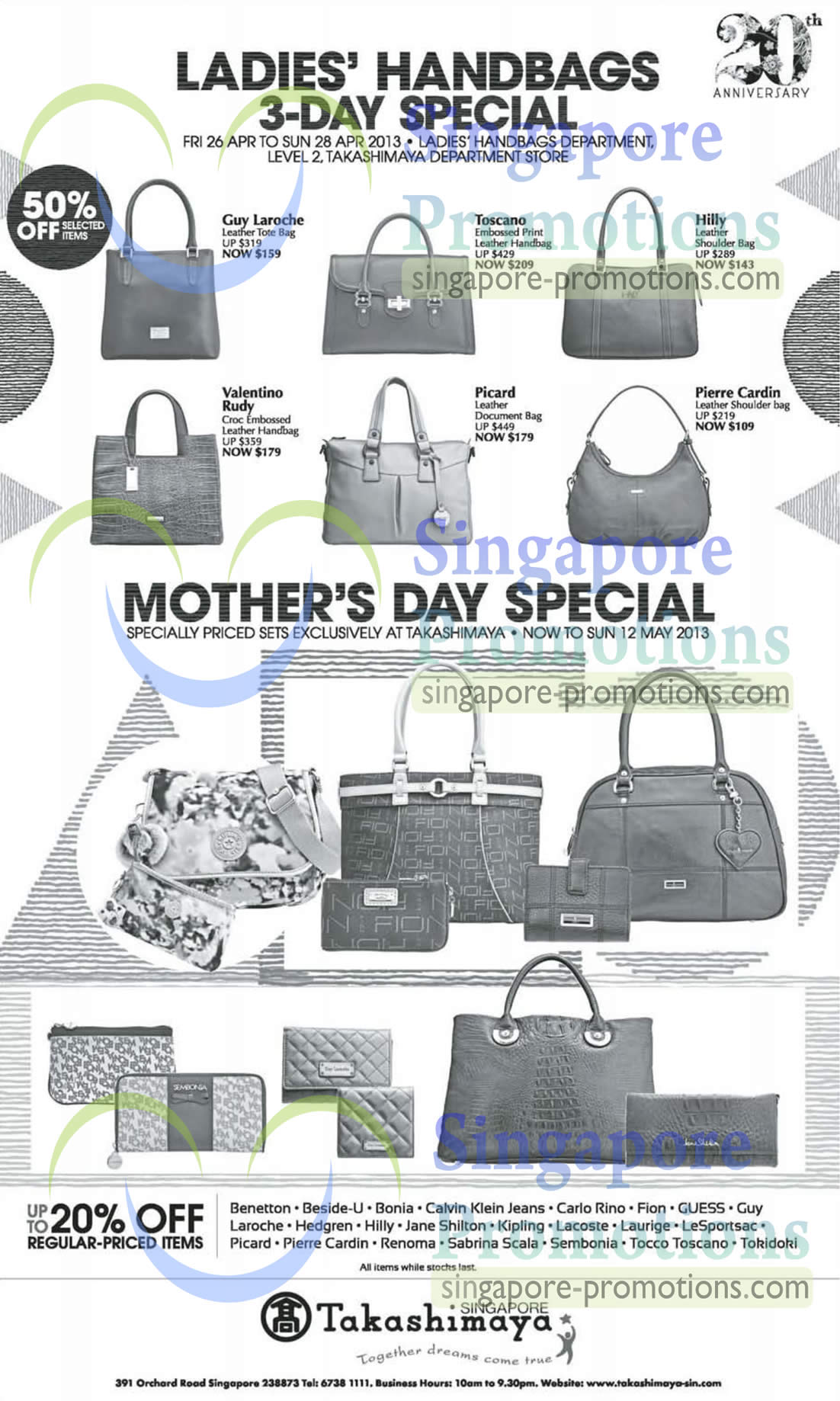 79bee4452a91 Takashimaya Ladies Handbags 3 Day Special Offers 26 – 28 Apr 2013