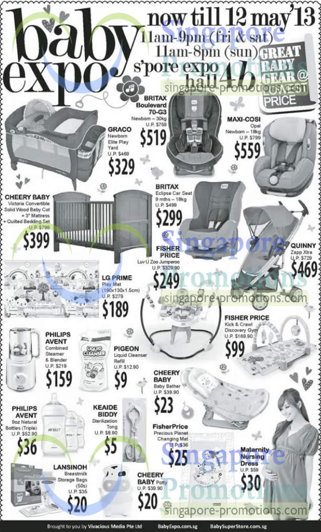 11 May Graco Play Yard, Cheery Baby Baby Bather, Philips Avent Steamer, Cheery Baby Baby Cot, Britax Boulevard 70-G3