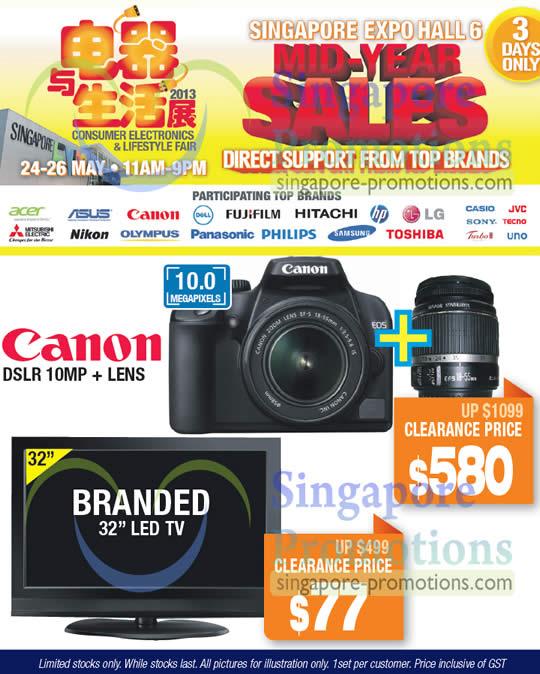 20 May Canon DSLR 10MP Digital Camera, Branded 32 LCD TV