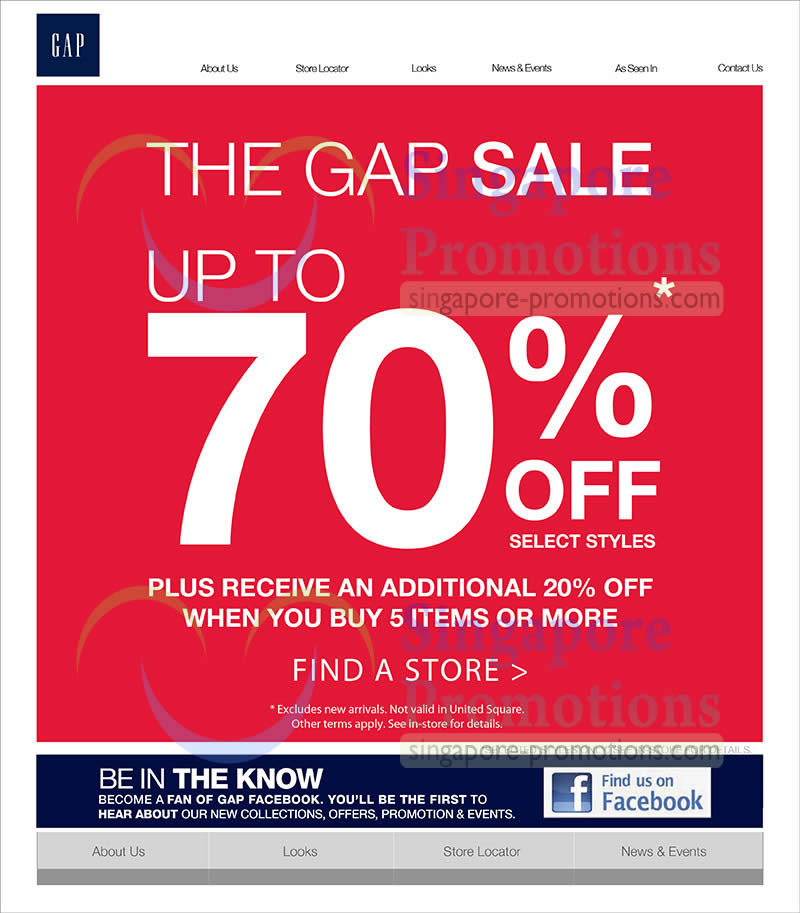 8 Jun Up To 70 Percent Off, Additional 20 Percent Off With 5 Items Purchase