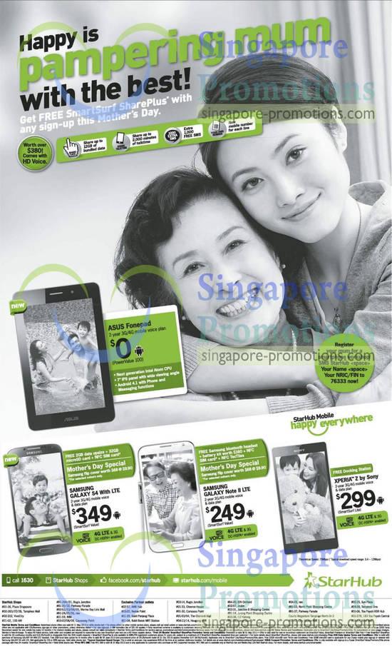 ASUS Fonepad, Samsung Galaxy S4 LTE, Samsung Galaxy Note II LTE, Sony Xperia Z