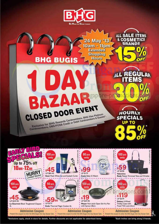 Bhg bugis one day bazaar closed door event 24 may 2013 for Bhg shopping