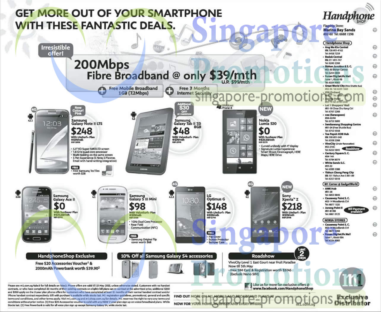 Handphone Shop Samsung Galaxy Note II LTE, Tab 2 7.0, Ace 2, S III Mini, LG Optimus G, Sony Xperia Z, Nokia Lumia 520
