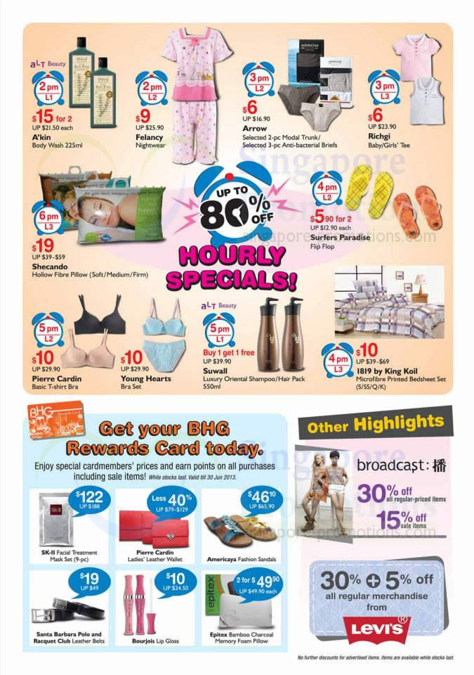 Hourly specials bhg rewards card levis bhg bugis one for Bhg shopping