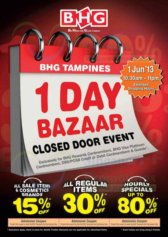 Bhg tampines one day bazaar closed door event 1 jun 2013 for Bhg shopping