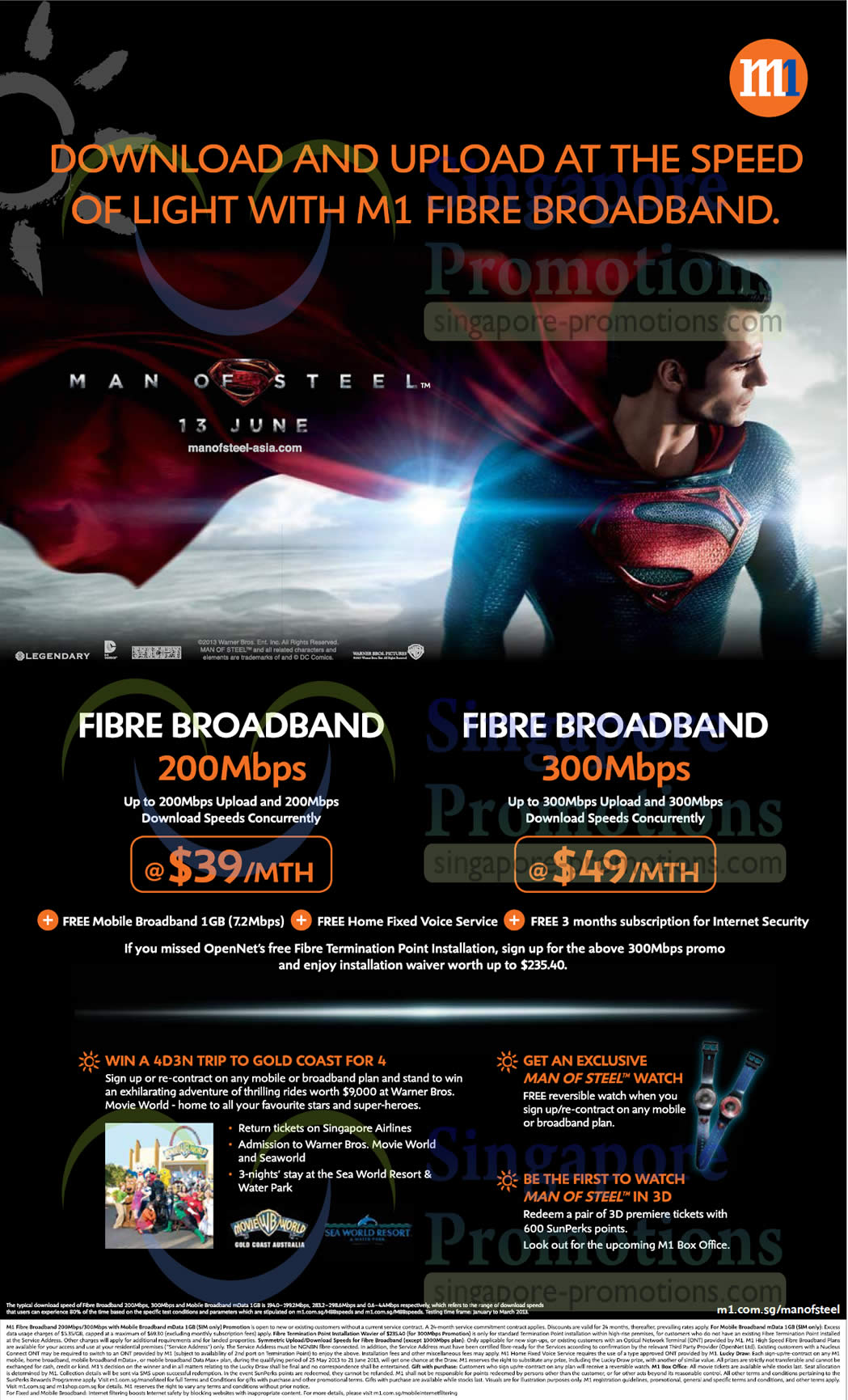 Fibre Broadband Plans, Free Man of Steel Premiums