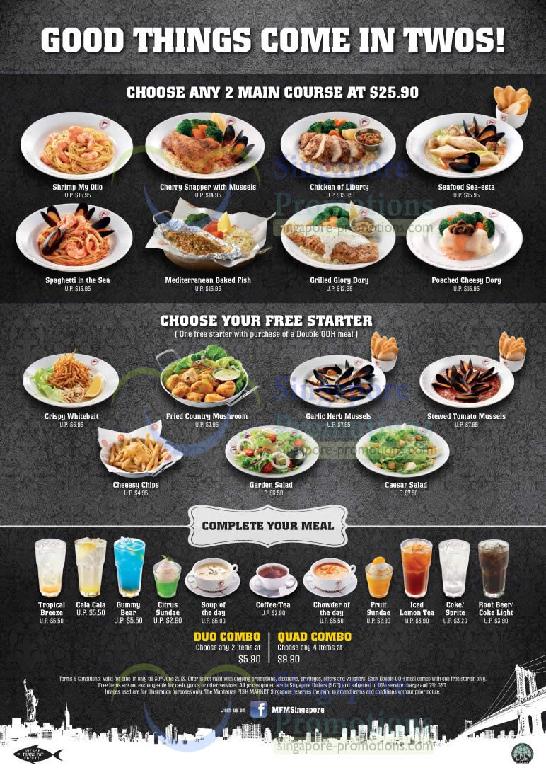 Main Courses Free Starters 187 Manhattan Fish Market 25 90