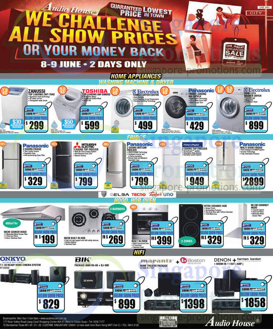 Zanussi ZWT-704S Washer, Toshiba AW-D980SS Washer, Electrolux EDV705 Dryer, Panasonic NA-107VC4 Washer, Electrolux EWW-1274 Washer and Onkyo HT-S5500 Home Theatre System