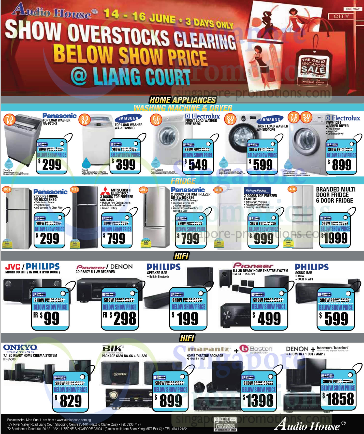 Washers, Fridges, Home Theatre Systems, Panasonic, Samsung, Electrolux, Fisher n Paykel, Mitsubishi, Pioneer, Onkyo