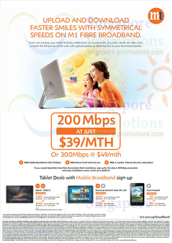 200Mbps 39.00 Fibre Broadband, 49.00 300Mbps, Sony Xperia Tablet Z, Samsung Galaxy Note 10.1 LTE, ASUS Fonepad