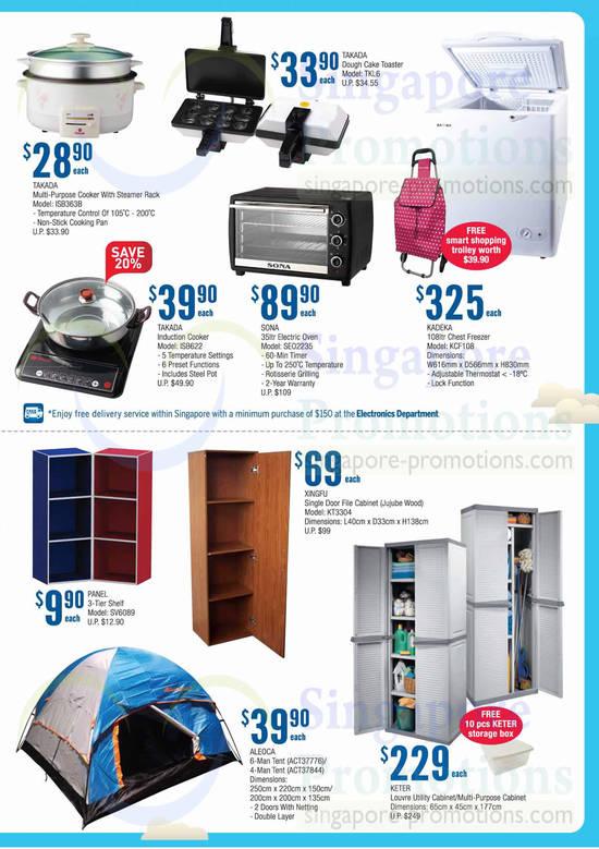 Takada ISB363B Multi Cooker, Takada IS8622 Cooker, Sona SEO2235 Electric Oven, Kadeka KCF108 Freezer, Aleoca ACT37776 Tent, Aleoca ACT37844 Tent and Xingfu KT3304 File Cabinet