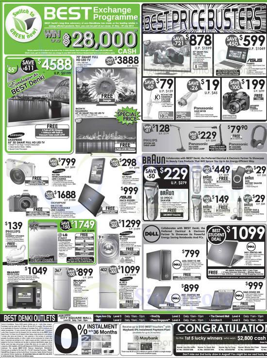 Samsung UA55F8500 TV, Sony KDL-60R550A TV, Samsung NX1000 Digital Camera, Olympus OM-D E-M5 Digital Camera, Samsung Galaxy Tab 2 7.0, Asus S46CM-WX058H Notebook, Philips GC510 Garment Steamer, LG D1465CF Dishwasher, Samsung WF906U4SAGD Washer, Sharp SJPC 36P Fridge, Samsung RL 4013 Fridge, Kadeka KCVAC108 Vacuum Cleaner, Panasonic SQ-LD520 Lamp, Braun S3 Shaver, Braun S7 Shaver, Braun S3 Shaver, Dell 660s-333411G-WB Desktop PC, Dell 3521-333472G-W8 Notebook, Asus TF600TG Notebook, Braun M30 Shaver, Braun EN10 Ear & Nose Trimmer, Dell 5421-35472G-W8 Notebook and Dell 5460-323452-W8 Notebook