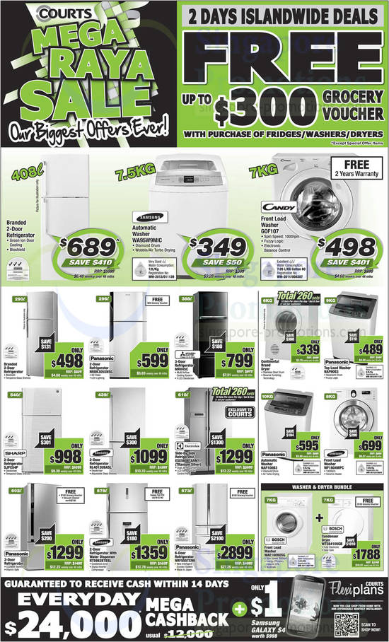 Samsung WA95W9MIC Washer, Candy GOF107 Washer, Panasonic NRBK305SNSG Fridge, Mitsubishi Electric MRV45C Fridge, Sharp SJPC54P Fridge, Samsung RL4013UBASL Fridge, Electrolux ESE5608TARMY Fridge, Samsung RT5982BTBSL Fridge, Panasonic NRF555TXN6 Fridge, Panasonic NAF90B3 Washer, Panasonic NAF100B3 Washer and Samsung WF1804WPC Washer