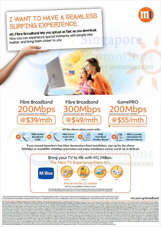 Fibre Broadband 200Mbps, 300Mbps, GamePRO 200Mbps, MiBox
