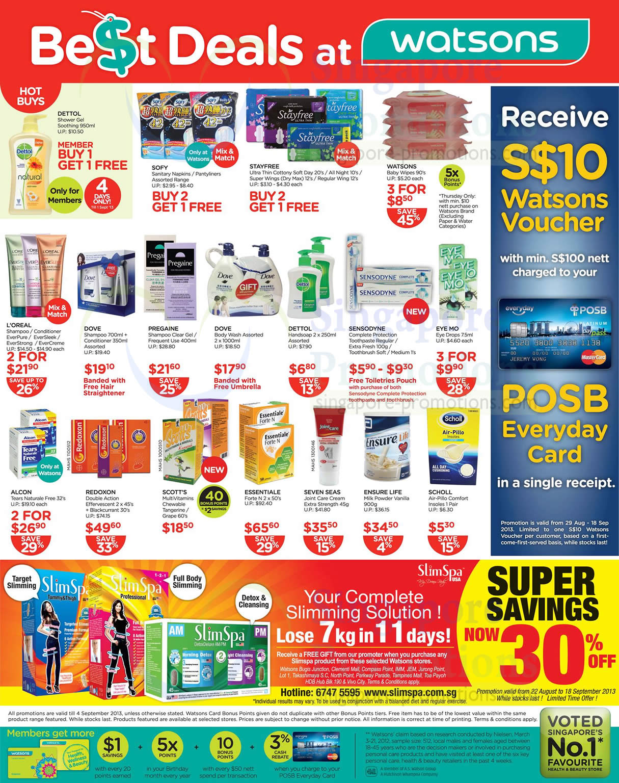 Hot Buys, Slimspa USA, Essentiale, Dove, Dettol, Sensodyne, Redoxon, Seven Seas, Ensure Life