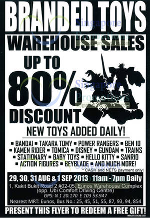Featured image for Sheng Tai Branded Toys Warehouse SALE Up To 80% Off 29 Aug – 1 Sep 2013