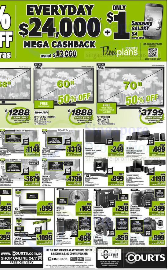 Samsung TV UA46F5500AMXXS, Samsung TV UA55F7500BKXXS, Sony TV KDL55W904A, HP 20-B118D AIO Desktop PC, Acer ZS600 AIO Desktop PC, Samsung EV-NX2000 Digital Camera, Nikon D3200 DSLR Digital Camera and Sony SLT-A65V DSLR Digital Camera